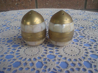Brass & Mother Of Pearl Inlays Salt & Pepper Shakers