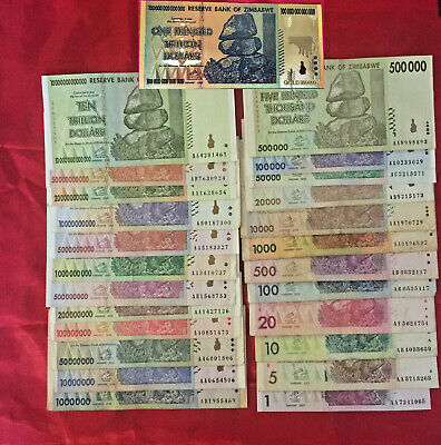 All 24 Zimbabwe Banknote $1 - 10 Trillion Dollar Cir Unc + 1 Cg 100 T S Currency