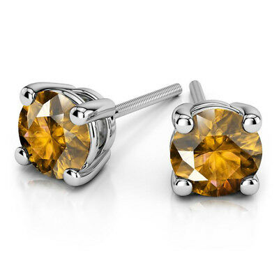 4.00Ct Round Shape Natural Citrine Stud 14K Solid White Gold Screw Back Earrings