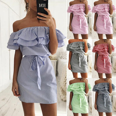 Womens Holiday Off Shoulder Bardot Mini Dress Ladies Summer Frill Tops Plus Size