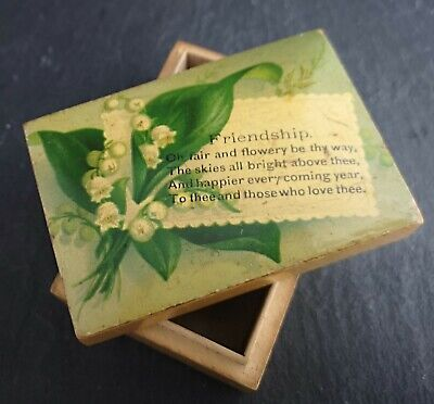 Antique Victorian boxwood friendship box, lily of the valley, trinket box