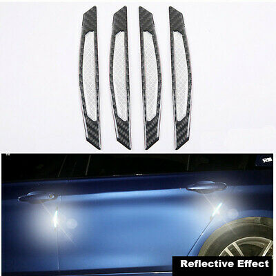 4 X Carbon Fiber Reflective Anti-collision Car Side Door Edge Protector Stickers