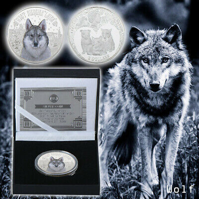 WR Wildlife Snow Wolf 999.Silver Plated Challenge Coin In Nice Box +COA
