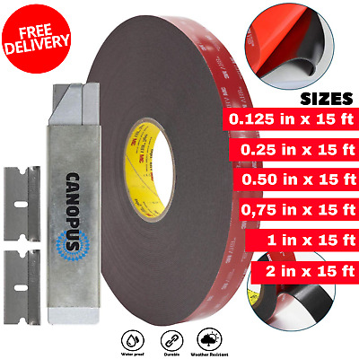 Heavy Duty Mounting Adhesive Double Sided Tape W/ Box Cutter & Razor Replacement