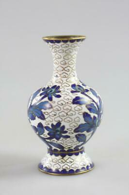 Vintage Chinese Blue And White Cloisonne Floral Mini Vase