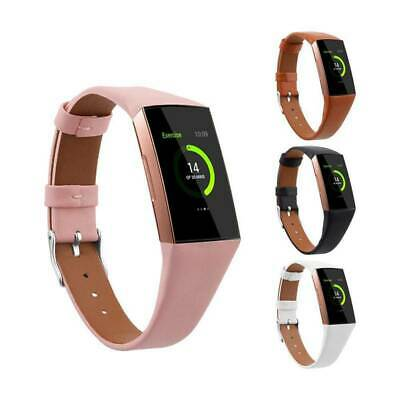 Genuine Leather Wrist Strap Replacement Wristband Watch Band For Fitbit Charge 3
