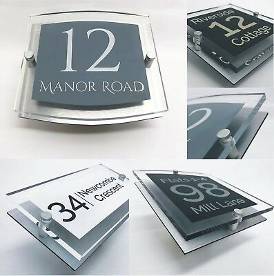 House Door Number Personalised Clear Acrylic Signs for your home