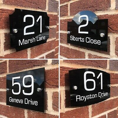 House Sign Plaques Door Number Sign Personalised Acrylic Number Plate Street