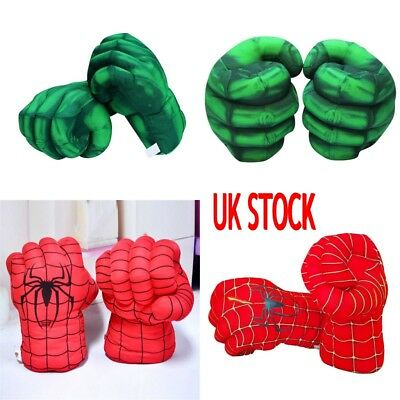UK Hulk Spider-Man Plush Hands Boxing Fist Glove Cosplay Props Kids Toys Gift