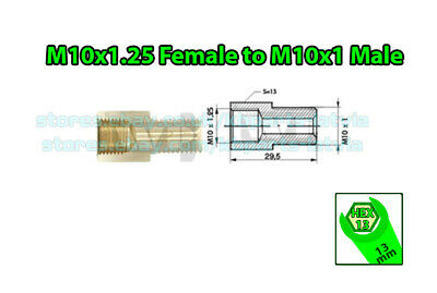 Brake Line Pipe Brass M10x1.25 Female to M10x1 Male Fitting Connector Coupler