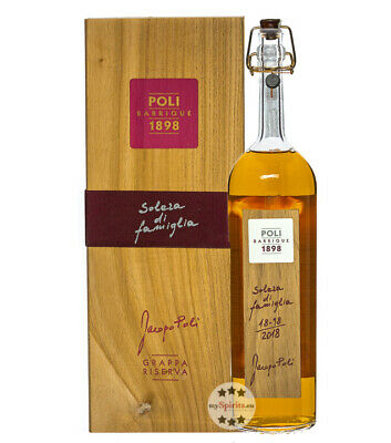 Poli Grappa Barrique Jacopo Poli / 55% Vol. / 0,7 Liter-Flasche in Holzschatulle