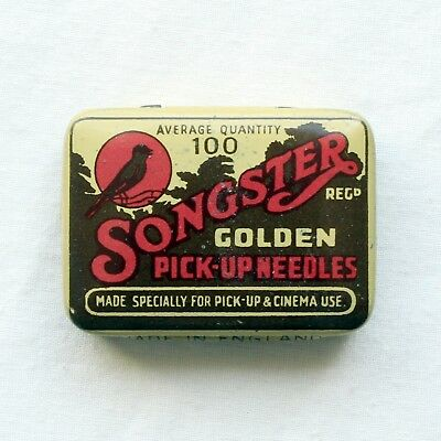 GRAMOPHONE NEEDLE TIN - Songster Golden Pick-Up Needles (100) [NEEDLE TIN]