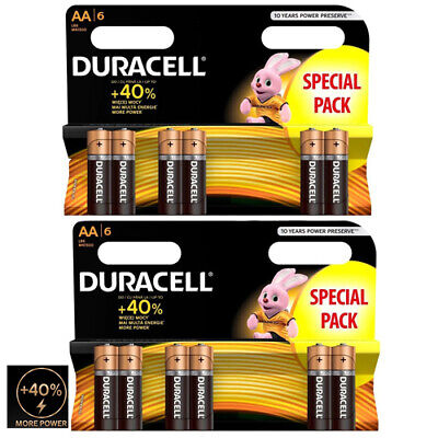 12 X Duracell Aa Long Lasting Power Alkaline Batteries Lr6, Mn1500 Duralock 1.5V