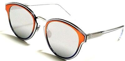 5da0ba4338 New Christian Dior NIGHTFALL L7Q 0T Orange Shaded Blue Crystal Silver 65mm