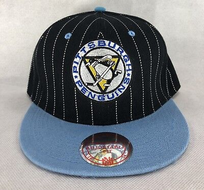 size 40 787a5 0d5d3 Pittsburgh Penguins Mitchell   Ness Snapback Hat Wool Black Blue Pinstripes  NEW