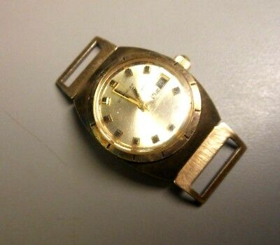 Vintage Wittnauer Ladies Wind Up Wristwatch 18kt Gold Plated Day Date