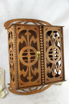 Art nouveau jugendstil wood carved Wall apothecary Kitchen spices cabinet rare