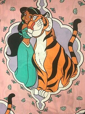 Vintage Disney Aladdin Jasmine & Rajah Flat Sheet Twin 1994 Excellent Shape