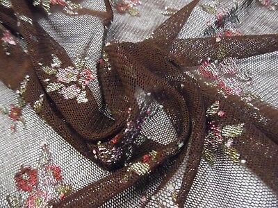 """EMBROIDERED MESH NETTING~SMALL FLORAL~CHOCOLATE BROWN~12""""x58""""~DOLL DRESS OVERLAY"""