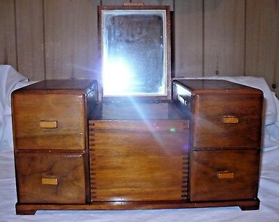 """Vintage Dovetail Antique Large Wood Jewelry Box Inlay Silhouette Mirror 16"""" by 9"""
