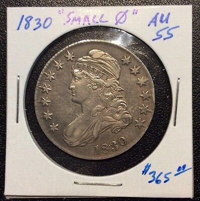 1830 Capped Bust Silver Half Dollar Small 0 Variety AU+