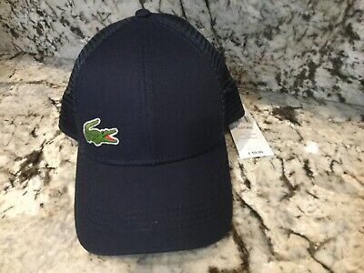77f75e466e9 LACOSTE SPORT MEN S SMALL Croc Logo Adjustable Hat Cap NAVY BLUE NWT ...