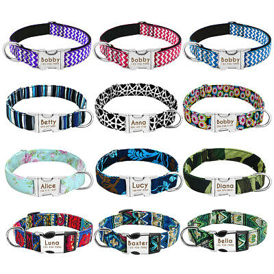 Small Large Personalized Dog Collar Customized Pet Name ID Bulldog Pitbull Boxer