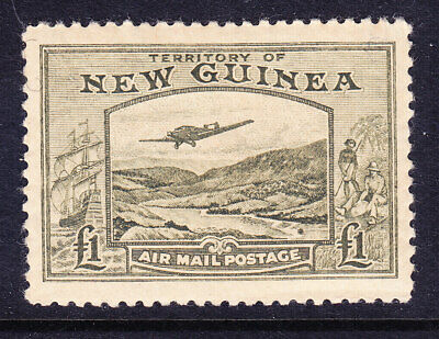NEW GUINEA 1939 SG225 £1 olive-green - Air - lightly mounted mint. Cat £140