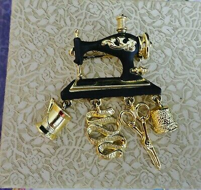 Vintage Danecraft Pin Sewing Machine & Tools Black & Gold-Tone Mother's Day gift