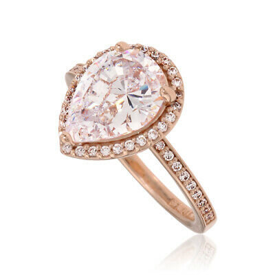 ae5beb34e PANDORA ROSE RADIANT Teardrops Ring Size 6 With Clear CZ 186251CZ-52 ...