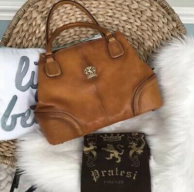 Pratesi Firenze Leather Shoulder Bag Made In Italy Large Code Dust Bag NWT $500