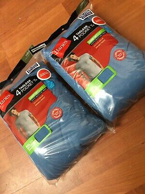 Mens Hanes Blue Pocket T-Shirt UnderShirt 8-Pack 100% Cotton!!