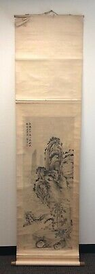 Fine Old Chinese Ink Scroll Painting Landscape Signed & Inscribed