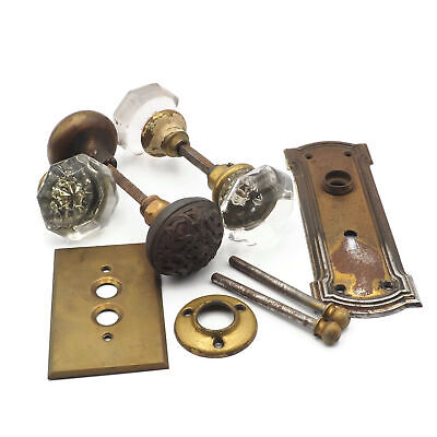 Lot Of Vintage Antique Glass And Brass Door Konbs And Other Misc Hardware