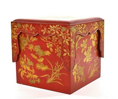 1900's Japanese Makie Gilt Lacquer Wood Bento Box with Stand & Tray - AS IS