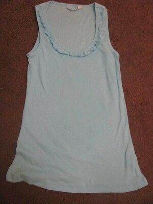 Bnew Ladies Aqua Blue Sleeveless Sleep Top Tank Ruffles Size 12 16