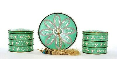 1930's Chinese 3 Export Canton Enamel Cloisonne Vanity Mirror Stack Box Tassel