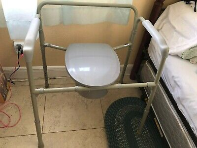 Bariatric Commode Chair, Heavy Duty Folding Steel Frame, Fixed Arm, 650 lb. Cap.