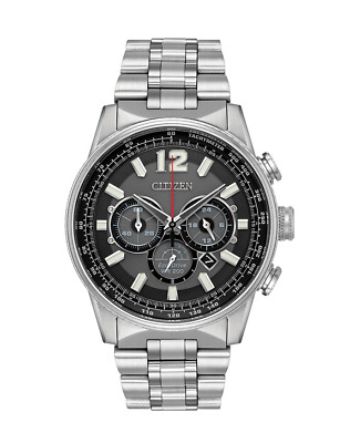 Citizen Eco-Drive Men's Nighthawk Chronograph Silver-Tone 43 mm Watch CA4370-52E