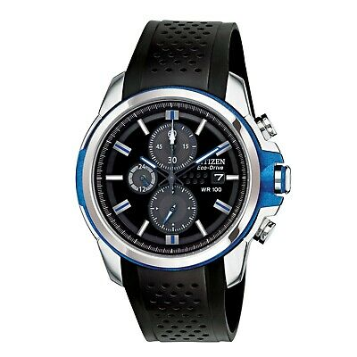 Citizen Eco-Drive Men's Chronograph Black Rubber Strap 45mm Watch CA0421-04E