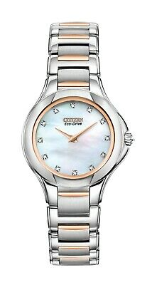 Citizen Eco-Drive Women's Diamond Accents Two-Tone 30mm Watch EX1186-55D