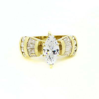 10k Yellow Gold CZ Cubic Zirconia Engagement Ring Size 6