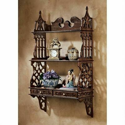 Antiqye Chinese Chippendale-Style Hardwood Curio 3 Shelves Wall Display Cabinet