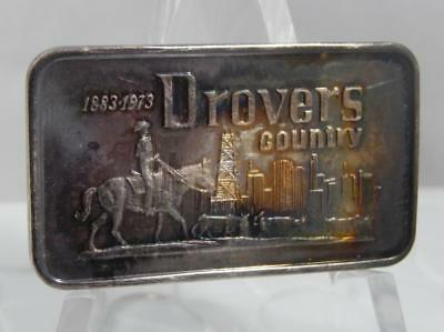 Vintage 1973 Drovers Country Bank of Chicago 1 Troy Oz 999 Silver Art Bar C0835