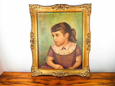 Vintage Oil On Canvas Portrait Painting Girl In A Dress 1950s Signed Art G Etta