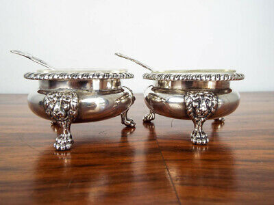 Antique Georgian British Sterling Silver Cauldron Open Salt Cellars Sheffield