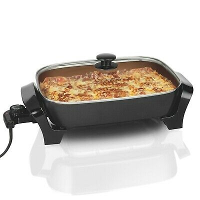 Hamilton Beach Deep Dish Ceramic Skillet 12x15 inch non-stick cooking surface