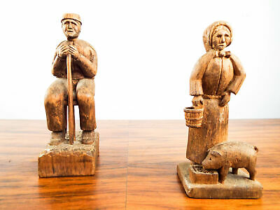Vintage 1930s WPA Wooden Scandinavian Hand Carved Figures Primitive Sculptures