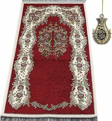 Islamic Turkish Thin Chenille Woven Embroidered Rose Prayer Mat - Red