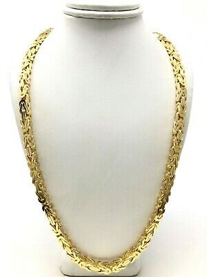 "Men's 14k Yellow Gold Solid Square Byzantine Necklace Chain 24"" 5mm 96.6 grams"